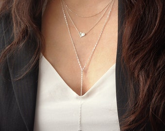 Long lariat necklace - silver y necklace - hammered triangle necklace