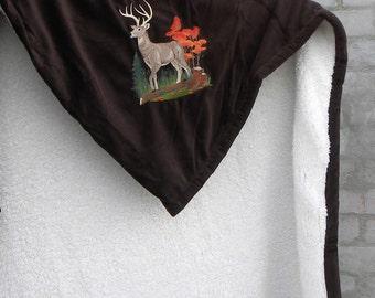 Embroidered Deer Blanket - ultra soft sherpa - choose your color