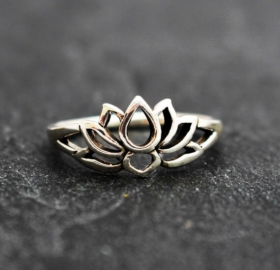 sterling silver lotus blossom flower ring by thewiredstarfish