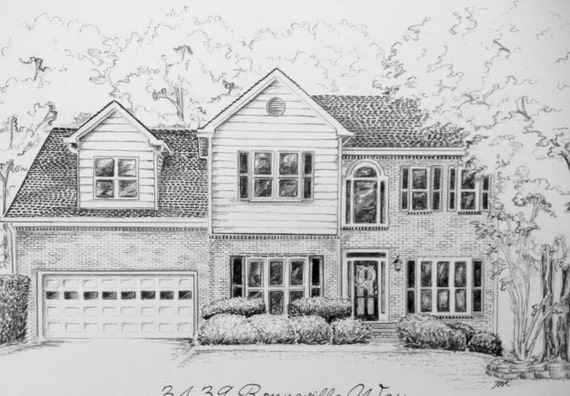 Art culos similares a custom pencil sketch of your house 8 - Casas dibujadas a lapiz ...