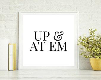Art Print OR Canvas, Up & At Em, Good Morning Sunshine, Quote Art, Motivational Art, Bedroom Art, Minimal Design Modern Art, Poster Print