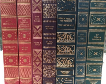 Vintage Books for Interior Design and Home Decor - International Collector's Library Literature Gilted Wedding Decor Red Green Hardcovers