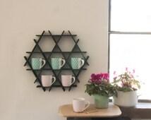 Coffee Rack, Black Kitchen Shelf, Coffee Mug Display, Coffee Mug Holder, Kitchen Rack, kitchen storage, Coffee Decor, Hanging Shelf