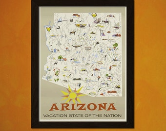 Arizona Travel Print - Vintage Travel Poster Wall Decor Travel Arizona Print Home Decor Gift Idea Arizona Poster  t