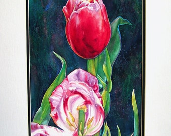 Tulips in Reds/ Floral Art Watercolor Painting/ Original  by Susan Faye