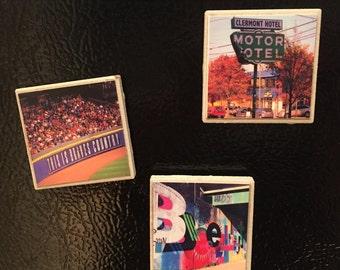 Atlanta Photo Magnets Handmade Set of 4