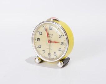 Refurbished Yellow Slava Alarm Clock USSR Fully Working Vintage Soviet Mechanical Clock Retro Home Decor
