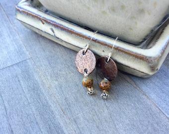 Earthy earrings earth tones glass beads iridescent beads hammed copper jewelry hammered earrings hoop earrings multicolor jewelry bohemian