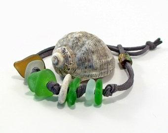 Men's Sea Glass Bracelet Surfer Bracelet Beach Jewelry Beach Pebble Jewelry Mens Upcycled Jewelry Beach Lovers Gift