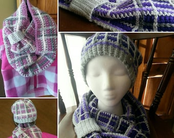 Plaid Infinity Scarf/ Cowl, Made-to-Order Crochet