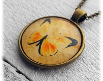 Yellow Butterfly Pendant and Necklace