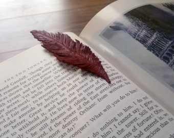 Leather hand made / carved Bookmark Feather (#2)