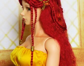 Autumn Two-toned Red mohair wig with brads (size 9-10 inch)