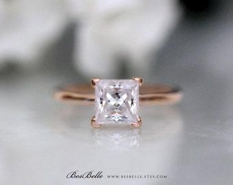 1.70 ct Solitaire Engagement Ring-Princess Cut Diamond Simulant-Bridal Ring-Anniversary Ring-Rose Gold Plated-Sterling Silver [2413RG]