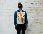 Blue / Orange Graphic Compass Print Rucksack with Waxed Cotton Base & internal zip pocket