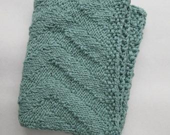 Hand Knit Cotton Chevron Blanket, Blue Green  ∙ Living Room Throw ∙ Baby Blanket