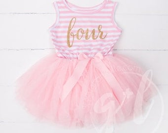 Fourth birthday outfit, 4th birthday dress, tutu dress with gold letters and pink tutu for girls 4th birthday