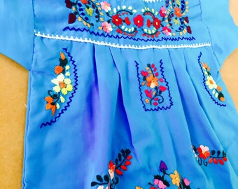 Mexican Hand Embroidered Blue Fiesta Dress for Girl