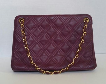 Vintage Paristyle Plum Quilted Purse with Gold Chain Strap