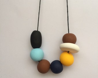Handmade Boat House Polymer Clay Bead Necklace