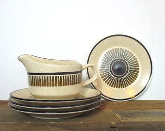 Temperware by Lenox 'Percussion' Dishes. One Creamer and 4 bread and butter plates - lovely speckled stoneware dishes.