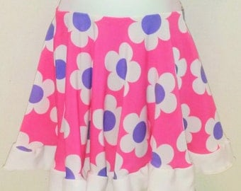 Girl's Pink and purple flower Circle Skirt (Size 4T)