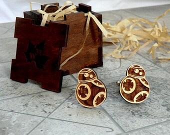 BB-8 Star Wars Wooden Cufflinks Groomsmen gift Star Wars Cuff links Valentines gifts Wedding Gifts for men Groomsmen cufflinks