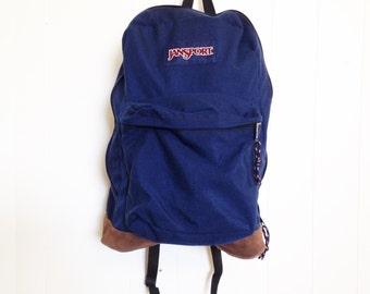 Vintage JanSport backpack. Leather bottom backpack. Vintage outdoor gear. Vintage backpack. Hipster backpack.