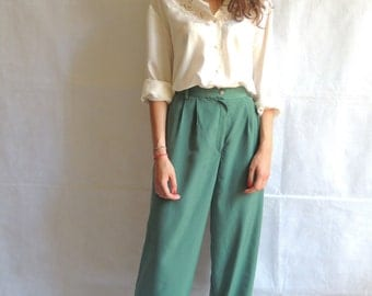 Vintage 80s 90s Green High Waisted Wide Leg Trousers Pants