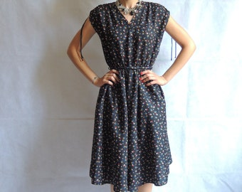Vintage Black Colorful Print Short Sleeve / Sleeveless Circle Round Elasthic Waist Midi Dress