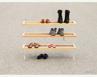 FLOAT 3F shoe rack handmade from solid wood / acrylic glass / blackened steel / natural oil