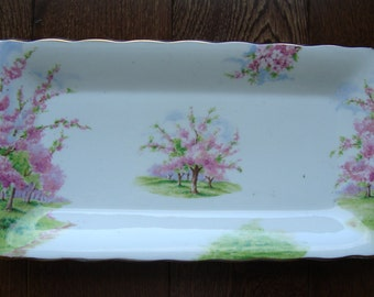 Blossom Time - Small Sandwich Tray - Royal Albert Bone China England - Scenic - Trees with Pink Apple Blossoms -Starter or Replacement Piece