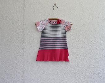 Recycled T Shirt Dress, Little Girl's Dress,  Upcycled TShirt Dress Size 2, Repurposed Tshirt Dress, Toddler Dress, Handmade T Shirt Dress
