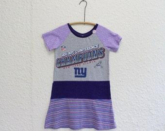 Upcycled NY Giants Tshirt Dress, Recycled NY Giants T Shirt Dress, Girls Dress Size 8, NY Giants T Shirt Dress, Football T-shirt Dress