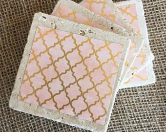 Shabby chic stone tile coaster set of 4