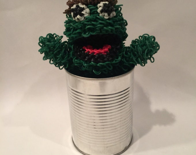 Oscar the Grouch Rubber Band Figure, Rainbow Loom Loomigurumi, Rainbow Loom Disney