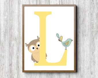 Instant Download - L Monogram Nursery /Kids Room Wall Art - Owl Art Print - Whimsical Bird - Letter L Poster - Yellow Wall Decor - 8 x 10