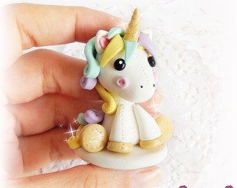 Unicorn Figurine, Polymer Clay Figurine, Unicorn Plushie, Polymer Clay Chibi, Cute Moon Unicorn, Kawaii Sculpture, Miniature Figurine