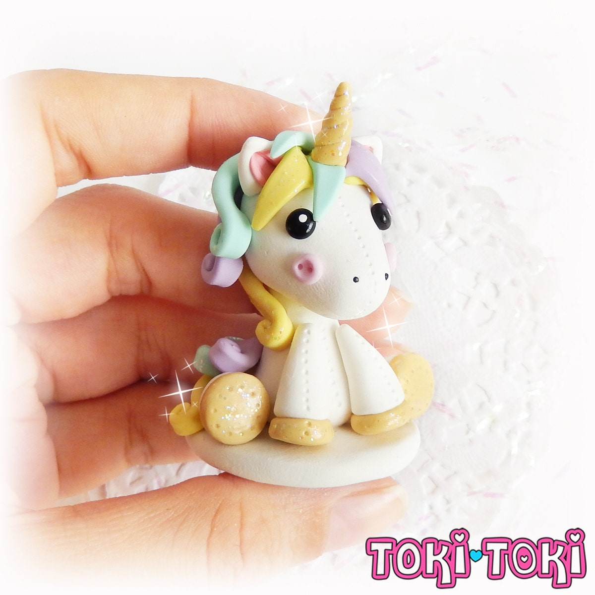 unicorn figurine polymer clay figurine unicorn plushie