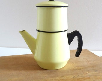 Vintage Yellow Enamel Cafetiere - Retro 50s Coffee Pot