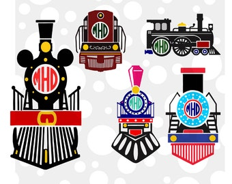 Train Monogram Frame Cutting File Set in Svg, Eps, Dxf, and Jpeg