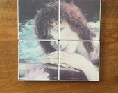 BARBRA STREISAND No More Tears Singer Vintage 1979 WET Vinyl Album Image on Set of 4 Ceramic Heat Resistant Drink Beverage Coasters