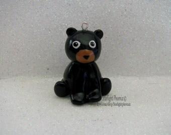 Black Bear Charm, Bear Ornament, Black Bear Keychain, Sculpted Bear, Polymer Clay Charm, Bear Charm, Clay Charm, Animal Charm, Clay Animal