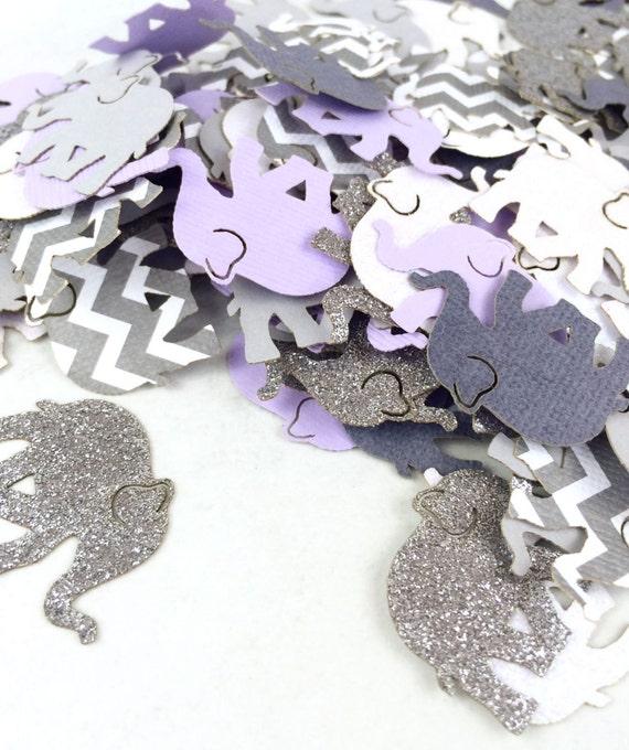 Purple Gray Chevron Elephant Confetti | Baby Shower Elephant Theme | Baby  Shower Decorations | Elephant | Centerpiece | Chevron Elephant From ...
