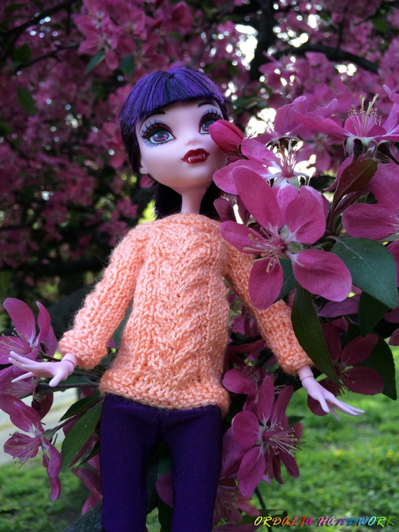 Knitting Patterns For Monster High Dolls : Apricot Peach Hand-Knitted Sweater with Long by OrdaliaHandwork