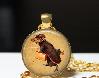Traveler mouse pendant Antique Steampunk jewelry Animal necklace