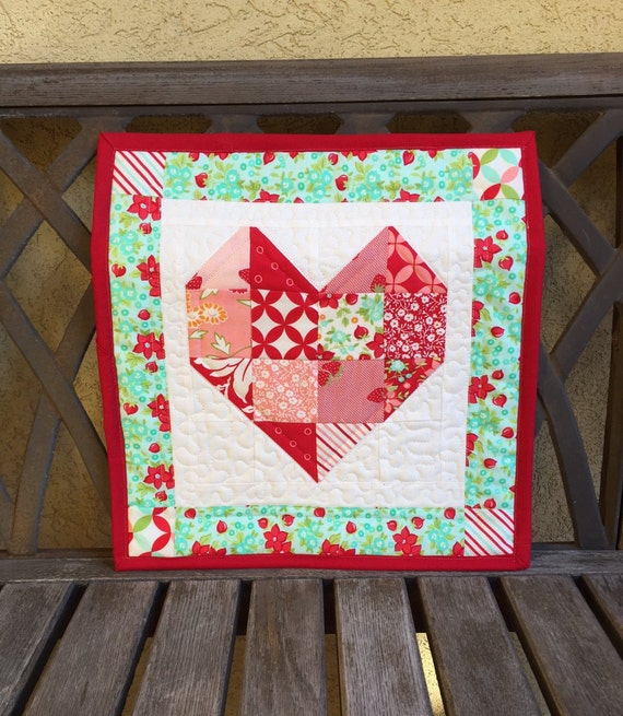 Quilted Patchwork Heart Wall Hanging Hello