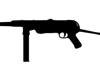 "MP-40 silhouette gun sticker, no background.  Rifle is about 9"" wide, support the second amendment anywhere."
