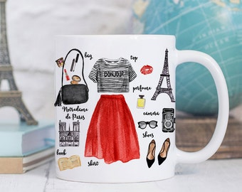Coffee Mug Paris Fashion Coffee Cup - Eiffel Tower Mug - Paris Cup - France Mug