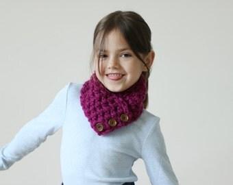 Girls Scarf, Kids Scarf, Chunky Neckwarmer, Crochet Chunky Scarf, Glacier